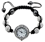 Shamballa Bling bling bracelet by BodyTrend - Clear Iced Balls with Swarovski crystals and fashion Elegant Watch - fits lovely on any wrist - perfect for a gift - adjustable size fits 7