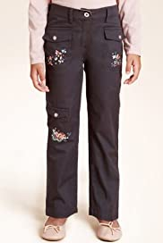 Autograph Pure Cotton Floral Embroidered Trousers [T77-6393S-S]