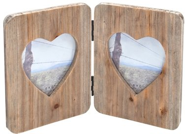 DOUBLE HINGED WOODEN HEART PHOTO FRAME BY COUNTRYSIDE INTERIORS