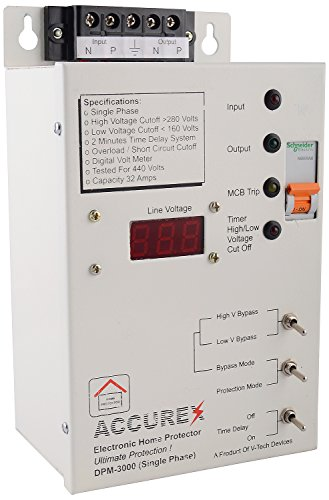 Accurex DPM-3000 Single Phase Home Voltage Protector (Grey) For Entire Home/Office 32 Amps