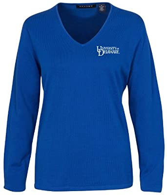 Oxford NCAA Delaware Fightin Blue Hens Ladies Carson V-Neck Sweater by Oxford
