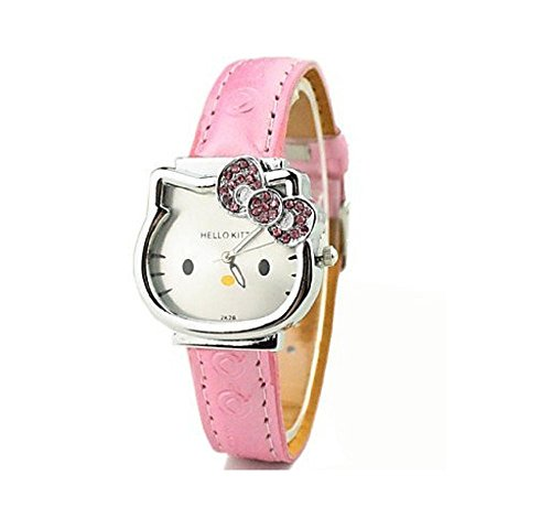 Hello-Kitty-Wrist-Watch-Silver-Face-with-Pink-Crystal-Bow-Pink-Straps-watch-for-Girls