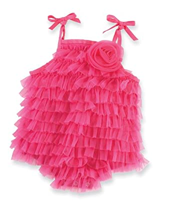 Mud Pie Baby-girls Newborn Chiffon Bubble, Hot Pink, 12-18 Months