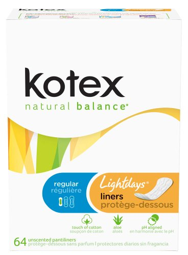 Kotex Natural Balance Lightdays Liners, Regular