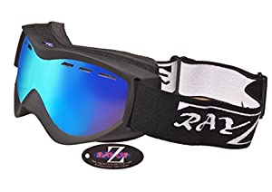 2014 Rayzor Professional UV400 Double Lensed Ski / SnowBoard Goggles, With a Matt Black Frame and an Anti Fog Coated, Vented Blue Iridium Mirrored Anti-Glare Wide Vision Clarity Lens.