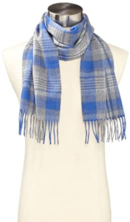 Amicale Men's 100% Cashmere Plaid Woven Scarf, Royal, One Size