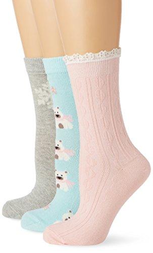 Totes Women's Untreded 3 Pack Slipper Socks,