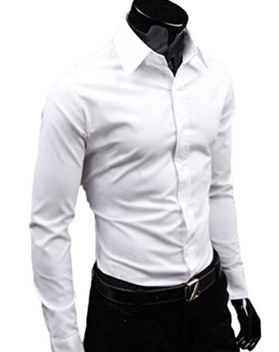 Men's Plain Stylish Dress Shirts Long Sleeve Solid Color White UK S (Asian L)