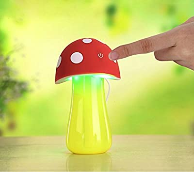 AmiCool 200ml Mushroom Mini USB Humidifier Purifier with LED Light for Office Home Car travel