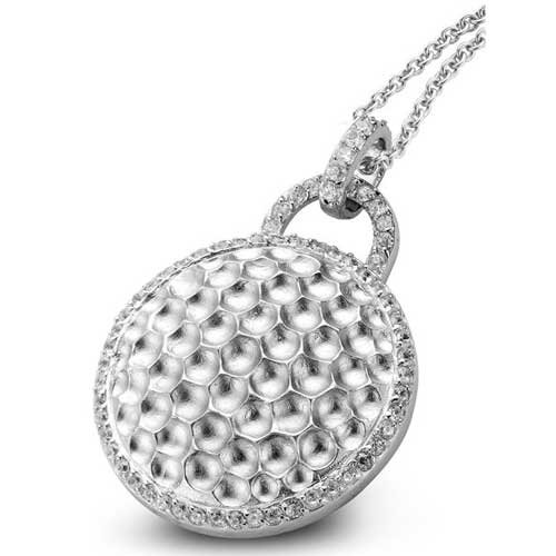 C.Z. Round Hammered Beautifully Rhodium Plated (.925) S/S Pendant (Nice Holiday Gift, Special Black Firday Sale)