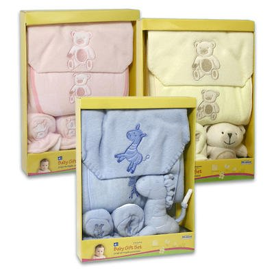 Baby Gift Set - 4 piece w/Baby Fleece Blanket, bib, booties, plush toy (Blue)
