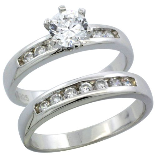 Sterling Silver 2-Piece Classic Channel Set Engagement Ring Set CZ Stones Rhodium finish, 1/8 in. 3.5 mm, Size 9