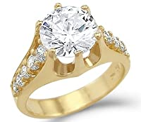 Solid 14k Yellow Gold Big Solitaire CZ Cubic Zirconia Engagement Ring 3.0 ct Round Cut from Sonia Jewels