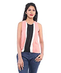 Avakasa Polyester Red Stripes Partywear Sleeveless Sleeves Top (top-19-peach)
