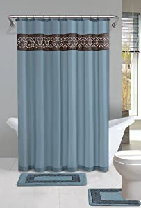 Home Dynamix DB15N-309 Designer Bath Polyester 15-Piece Bathroom Set, Blue