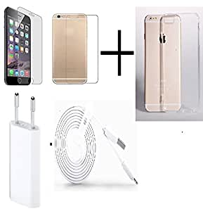 OPUS TEMPERED GLASS FOR Iphone 6 (Front & Back) + TRANSPANRENT BACK COVER FREE + TRAVEL USB CHARGER + USB CABLE