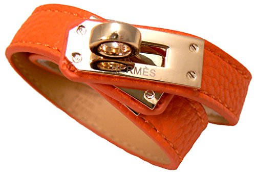 hm0401-round-lock-orange-leather-double-tour-bracelet