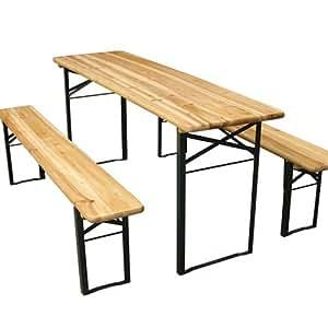Ensemble table et bancs - pliables - en bois - Table : 177 x 46 x 75 cm - Bancs : 177 x 23 x 46 cm