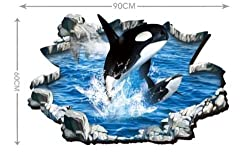 3D Art Wall Sticker Dolphin Blue Sea Ocean Kids Bedroom Mural Wallpaper Decor CA