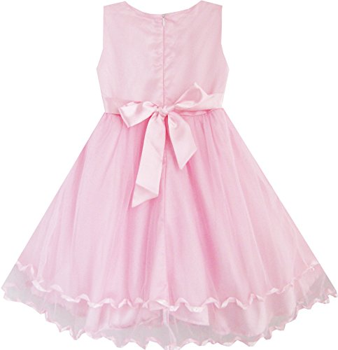 Sunny Fashion Big Girls Dress Rose Bow Tie Belt Wedding Birthday Party, Pink, 7-8