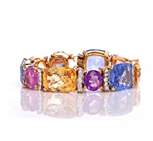 Estate 133.71cts Natural Unheated Multi-color Sapphire Diamond Gold Bracelet