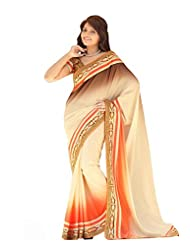 Dancing Girl Orange White Creep Padding Saree