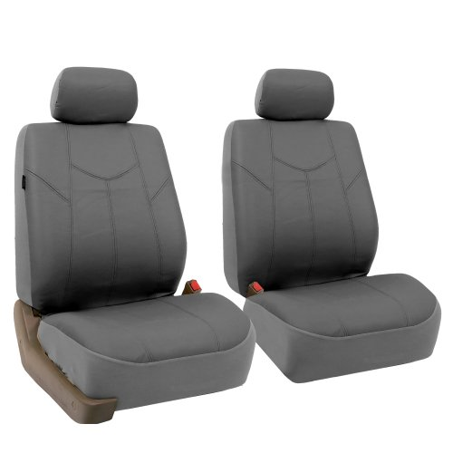 FH Group PU009GRAY102 Gray Rome PU Leather Front Seat Cover, Set of 2 (Airbag Ready) (Front Leather Seat Covers compare prices)