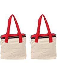 VS Exporrts Cotton 6 Liters Multi-Color Lunch Bag (Combo Of 2) - B01HZ1QU5K