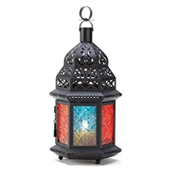 ABC Products - Vintage ~ Metal - Multi-Colored Votive Lantern - Holds Tea Candles Votvie Candles and Other Candles (6 Glass Rainbow Color Windows - With Primitive Designs on the Windows)
