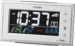 CITIZEN(シチズン) 電波デジタル時計 AC電源タイプ カラー表示 温度・湿度表示付 熱中症、食中毒、インフルエンザ、カビ・ダニ注意の液晶表示機能付 8RZ121-003 8RZ121-003