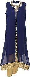 Urban Kings Women's Crepe Net Salwar Suit (BLUE-012_L, Blue, L)