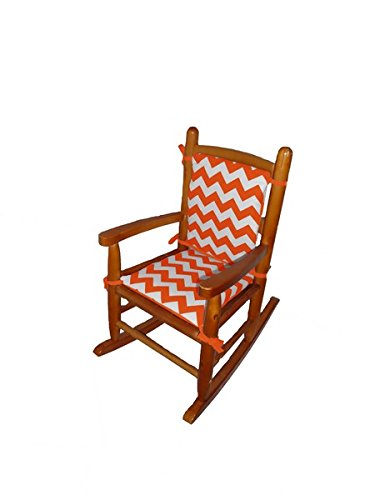 Baby Doll Chevron Junior Rocking Chair Pad, Orange - 1