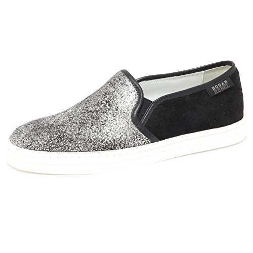 6534Q sneaker donna HOGAN REBEL SLIP ON nero/argento shoe woman [37.5]