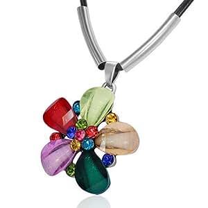 Fashion Kristall Blume Stern Charm Schwarz Stoff Cord Verlängerung Halskette mit Schmucksteinen - Bunt