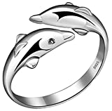 Qandsweet 925 Sterling Silver Cute Dolphin Ring