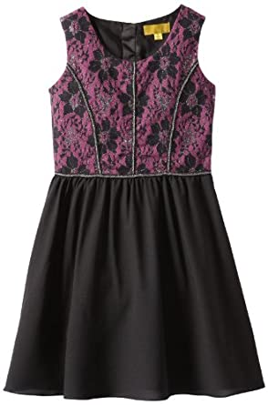 Nicole Miller Big Girls' Lace with Georgette Fit and Flare Dress, Black, Small