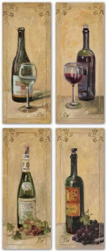 """White and Red Wine With Grapes and Glass Set (Four Prints) by Shari White 4""""x10"""" Art Print Poster Art Poster Print by Shari White, 4x10 Art Poster Print by Shari White, 4x10 Art Poster Print by Shari White, 4x10"""