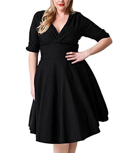 Nemidor Women's Vintage 1950s Style Sleeved Plus Size Swing Dress (22W, Black)