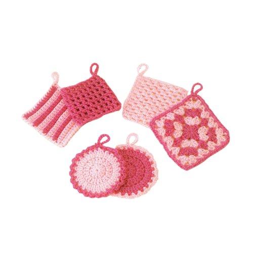 ハマナカ エコタワシキット/はじめてのかぎ針編みタワシ(ピンク系)