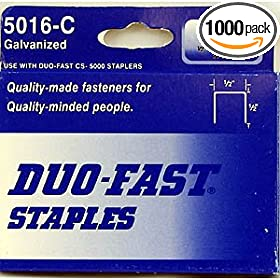 Duo Fast CP5016C 20 Gauge Galvanized Staple 1/2-Inch Crown x 1/2-Inch Length, 1000 Pack