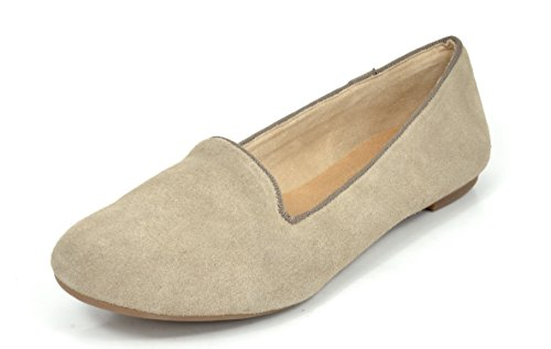 DREAM PAIRS SLIP-EASE Women's Casual Solid Plain Ballet Comfort Suede Slip On Flats Shoes NUDE SIZE 10