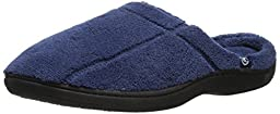 Isotoner Men\'s Signature  Microterry Hoodback Slipper, Navy, X-Large