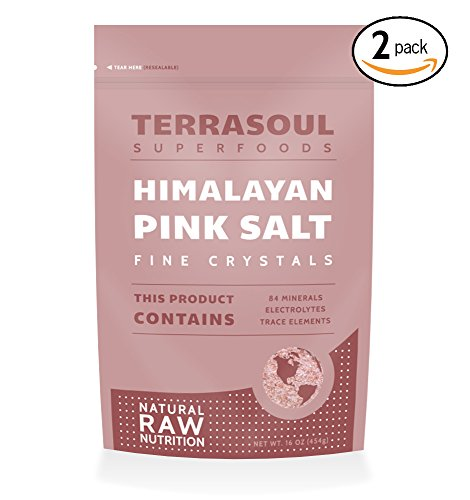 Terrasoul Superfoods Himalayan Pink Salt (Extra-Fine), 16-ounce (Pack of 2)