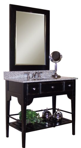 Kaco international 340-2230-B Dover Large Vanity Mirror in Distressed Black White Sherwin Williams Finish