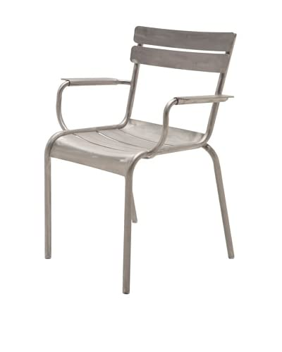 Industrial Chic Marcel Arm Chair, Brushed Aluminum As You See