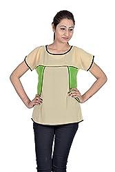 Iande Cream-Green Georgette Top
