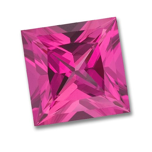 3x3mm Princess Cut Gem Quality Chatham-Created Cultured Pink Sapphire Weighs .17-.21 Ct.