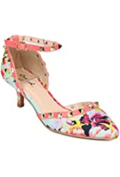 Qupid PCF22 Women Floral Fabric Pointy Toe Spiked Ankle Strap d'Orsay Kitten Heel Pump - Mint