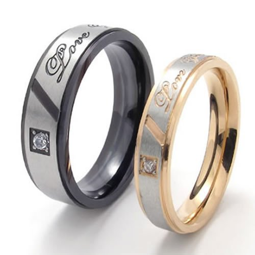 Konov Jewellery Lover's Polished Titanium Stainless Steel Promise Ring