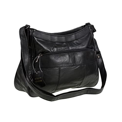 Italian Leather Ladies Handbag Black Soft Leather Shoulder Bag 7691
